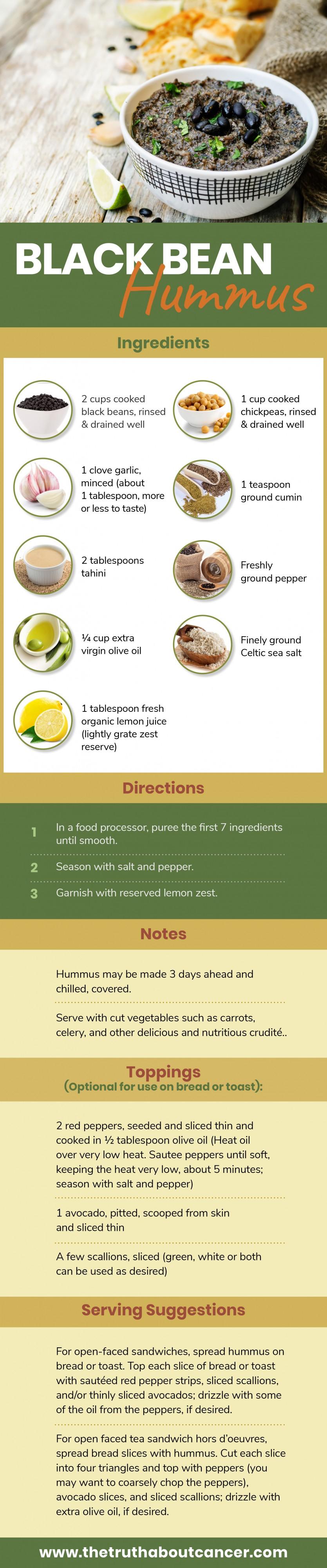 black bean hummus recipe infographic