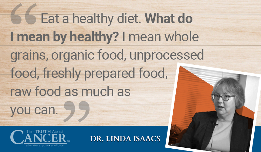 Quote by Dr. Linda Isaacs about how importance of keeping a healthy diet.