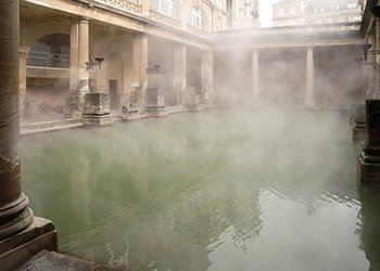 (Roman baths in Bath, U.K.) Bathing was an important ritual for the Romans who built thermal baths over natural hot springs