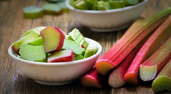 fresh rhubarb in white bowl