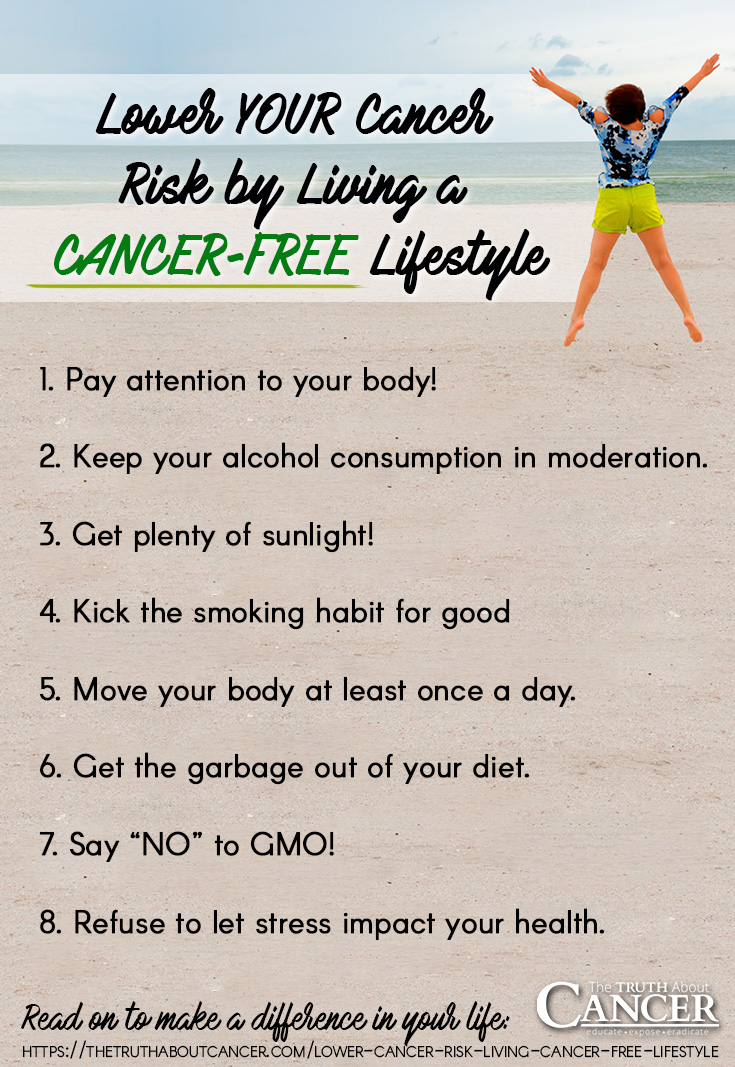 Lower Your Cancer Risk by Living a Cancer-Free Lifestyle. 8 steps to lower your cancer-risk by The Truth About Cancer.
