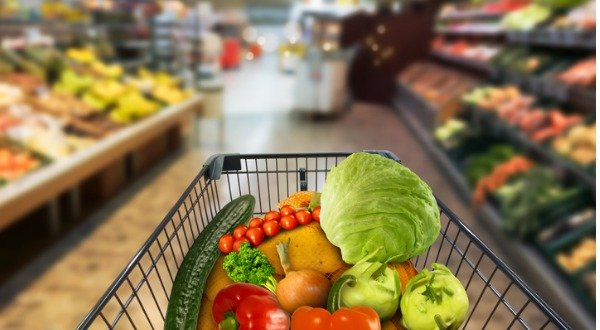vegetables in shopping cart